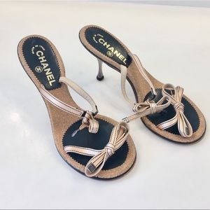 Authentic CHANEL satin bow tie ribbon heels size 9